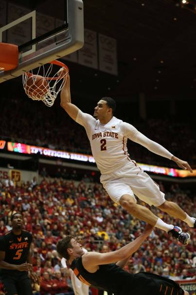 Iowa State's Abdel Nader dunks the ball during Iowa State's final home game of the season against Oklahoma State on Monday, Feb. 29, 2016, in Hilton Coliseum.