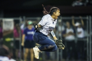 Pleasant Valley's Alexia Lara celebrates after throwing the winning pitch in the Class 5A state softball championship between Pleasant Valley and Indianola on Friday, July 20, 2018, at the Rogers Sports Complex in Fort Dodge.