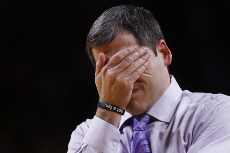 """Iowa State coach Steve Prohm reacts after an Alcorn State player makes a wide open dunk during the Iowa State men's basketball game against Alcorn State on Sunday, Dec. 10, 2017, in Hilton Coliseum. The Cyclones bet Alcorn State 78-58. In the post game news conference Coach Prohm said, """"Sometimes you can win, but mentally you donÕt come out victorious."""""""