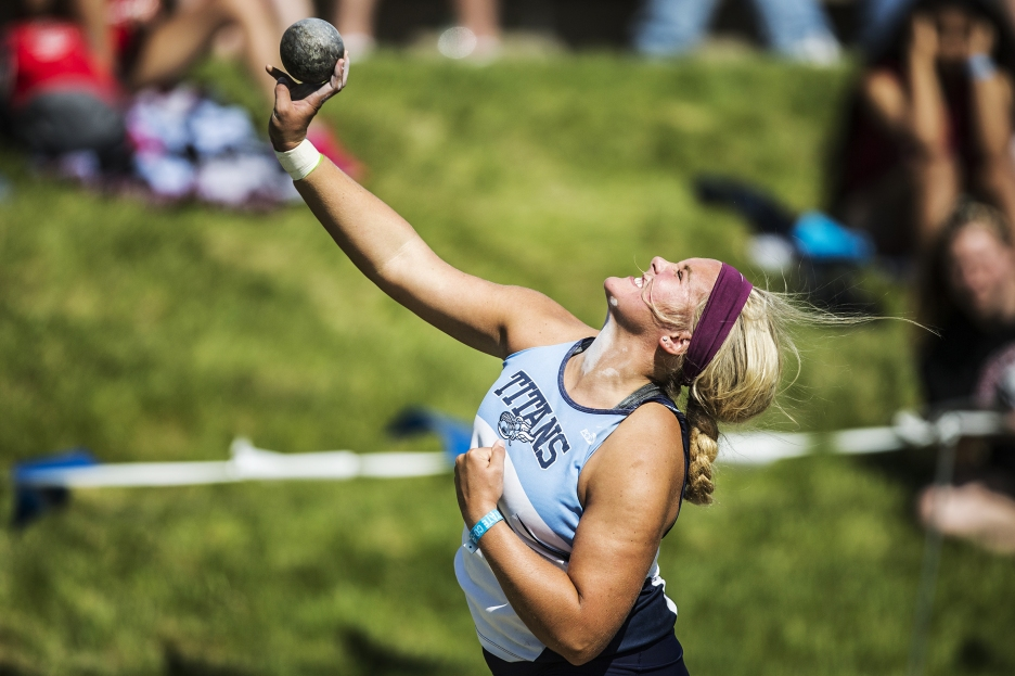 Lauren Payne, of Lewis Central, takes third place in the Class 4A shot put during the 2018 Iowa High School Track and Field Championships on Friday, May 18, 2018, in Des Moines.
